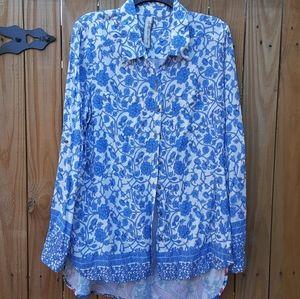 Aratta Silent Journey Blue Floral Blouse